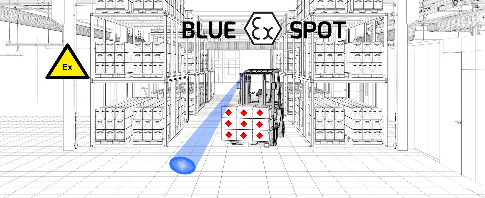 Blue ex Spot - ATEX awareness spotlight for lift trucks