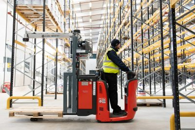 Pyroban ATEX protected Linde N20 low-lift order pickers featuring a vacuum arm